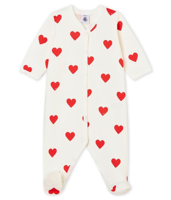 Baby Girls' Fleece Sleepsuit Marshmallow white / Terkuit red