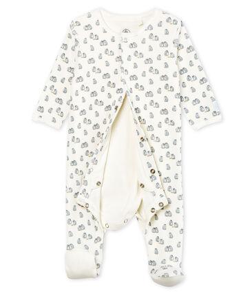 Baby Boys' Velour Bodyjama Marshmallow white / Multico white