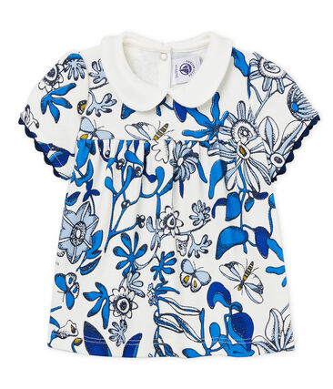 Baby girls' blouse in printed piqué jersey Marshmallow white / Multico white