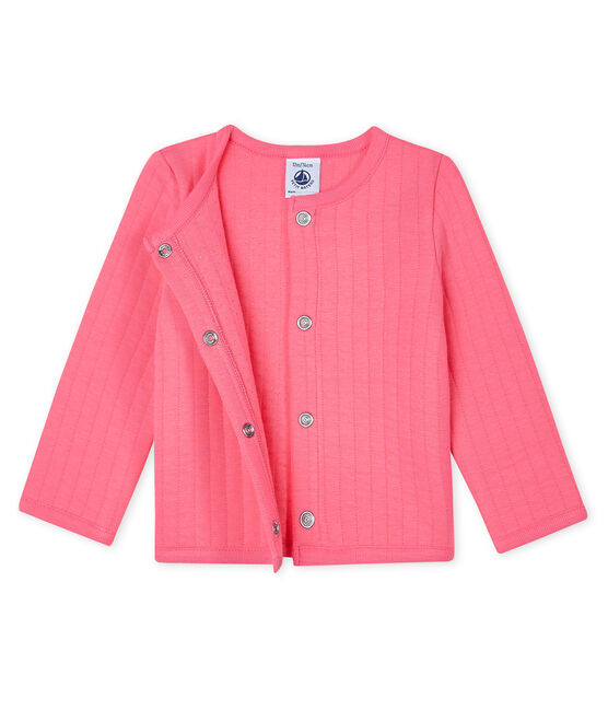 Baby Girls' Quilted Tube Knit Cardigan Cupcake pink