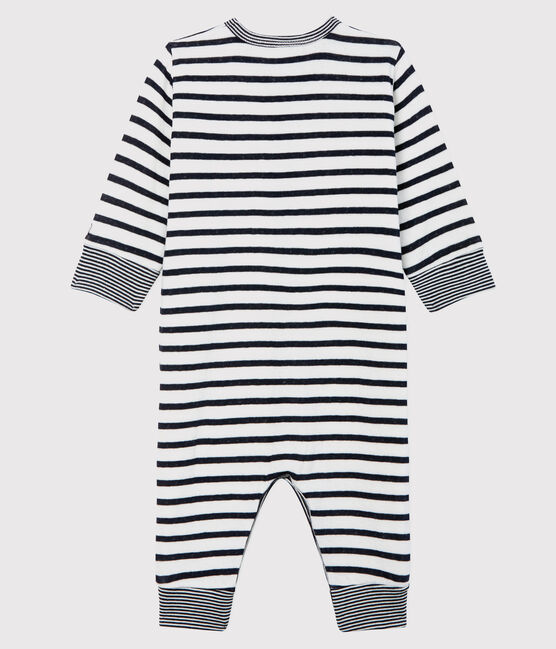 Unisex Babies' Striped Tube-Knit Footless Sleepsuit Marshmallow white / Smoking blue