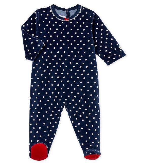 Baby Girls' Velour Sleepsuit Haddock blue / Ecume white