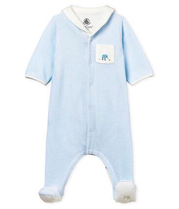 Baby boys' pinstriped velour bodyjama