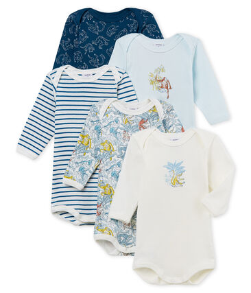 Baby Boys' Long-sleeved Bodysuits in Cotton - Set of 5