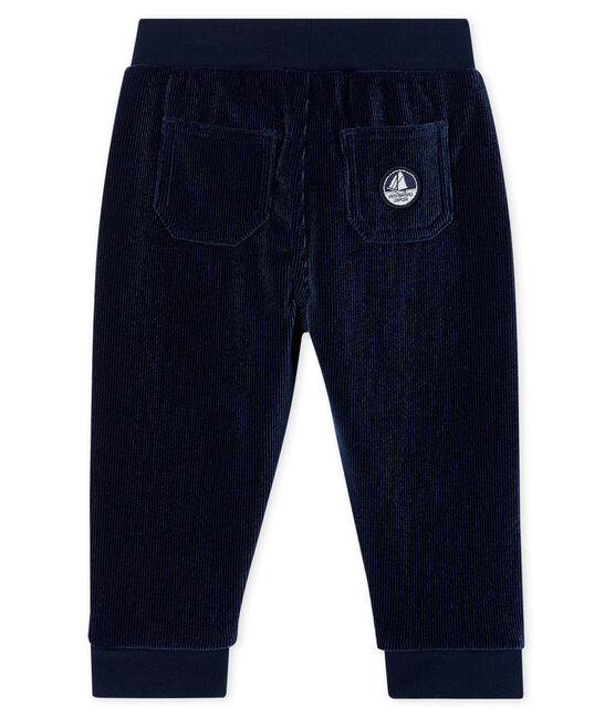 Baby Boys' Ribbed Velour Knit Trousers Smoking blue