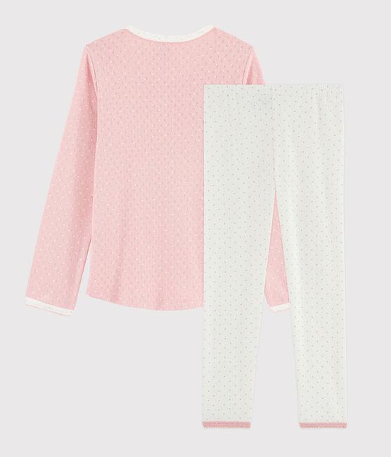 Girls' Pink Polka Dot Openwork Rib Knit Pyjamas Marshmallow white / Charme pink