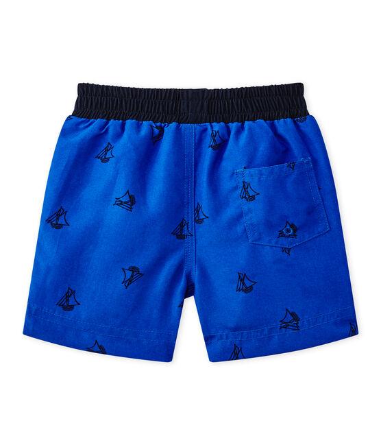 Baby boy's print beach shorts Perse blue / Smoking blue