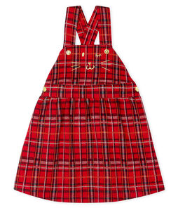 Baby Girls' Checked Dungarees/Dress Terkuit red / Multico white
