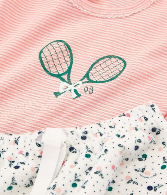 Girls' short Pyjamas in Brushed towelling Marshmallow white / Multico white