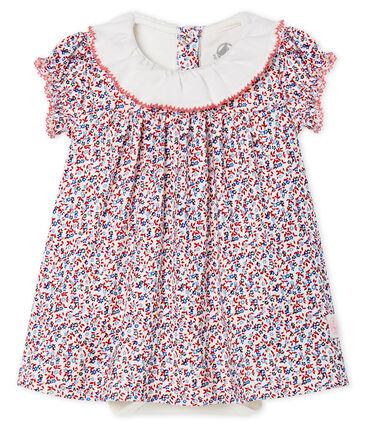 Baby girls' printed dress/bodysuit Marshmallow white / Terkuit red