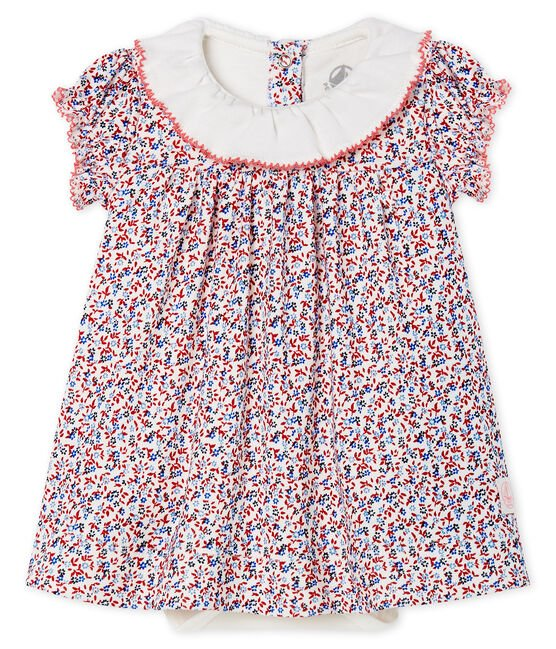 Baby girls' printed dress/bodysuit Marshmallow white / Terkuit red