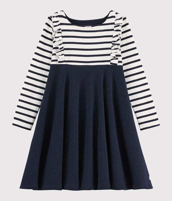 Girl's Long-sleeved Cotton Dress Marshmallow white / Smoking blue