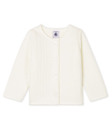 Baby Girls' Quilted Tube Knit Cardigan Marshmallow white