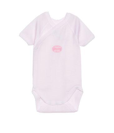 Newborn baby girl short-sleeve bodysuit in milleraies stripe Vienne pink / Ecume white