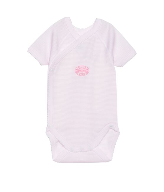 Newborn baby girl short-sleeve bodysuit in milleraies stripe Vienne pink / Ecume white