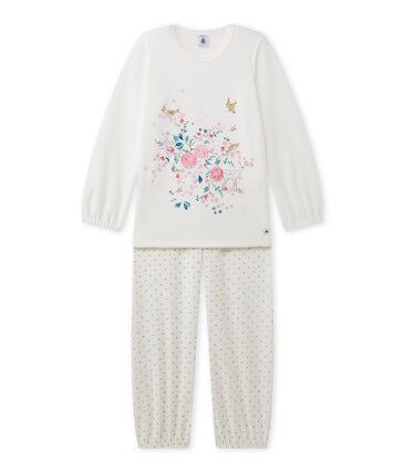 Girl's terry velour pyjamas with motif Lait white / Or yellow