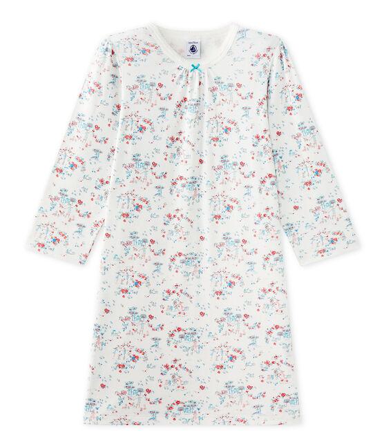 Chemise de nuit fille imprimée Lait white / Multico white