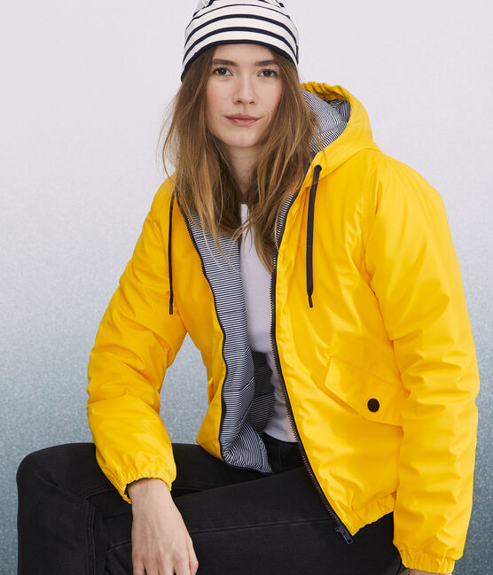 Women's/Men's recycled padded rain jacket Jaune yellow