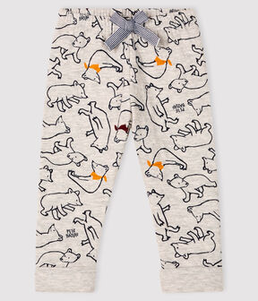 Baby boy's tubular knit trousers Beluga grey / Multico white