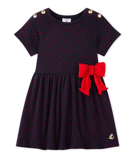 Baby girl's print dress Smoking blue / Terkuit red