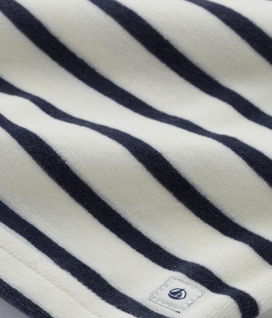 Girl's terry velour pyjamas Coquille beige / Smoking blue