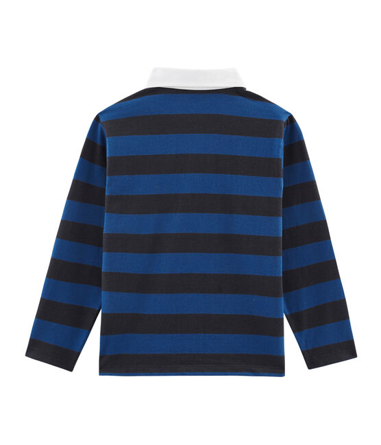 Boys' Striped Rugby Polo Shirt Smoking blue / Limoges blue