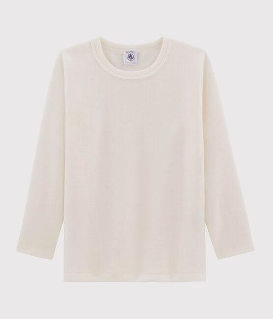 Children's Plain Long-Sleeved Wool and Cotton T-Shirt Ecru beige