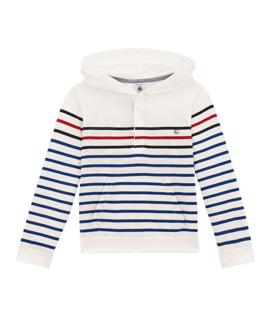 Long sleeved hooded T-shirt Marshmallow white / Smoking blue
