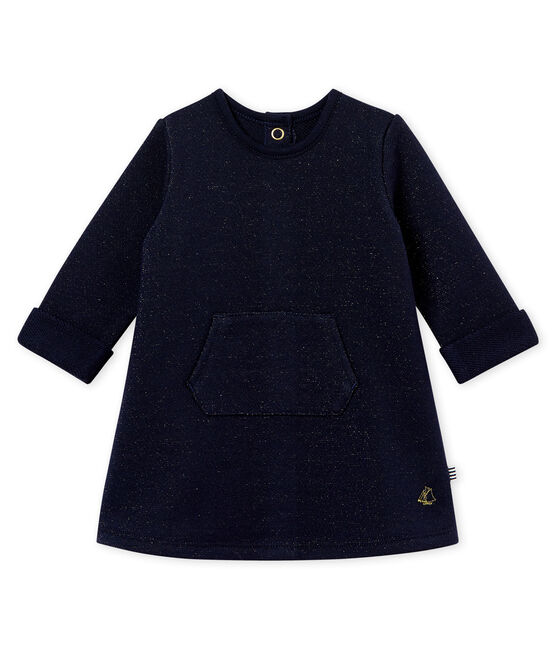 Baby girl's shiny cotton sweatshirt dress Smoking blue / Dore yellow