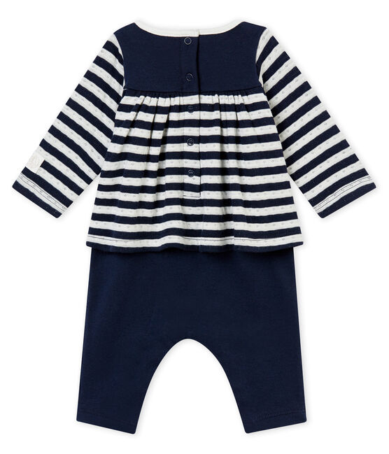 Baby girl's long all-in-one Smoking blue / Marshmallow white