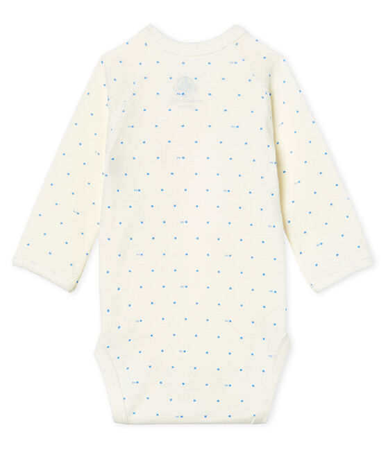 Newborn Babies' Long-Sleeved Bodysuit Marshmallow white / Acier blue