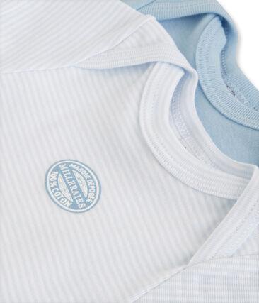 Pack of 2 baby boy short-sleeve plain/milleraies striped bodysuits . set