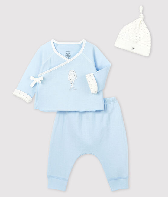Baby boy's blue tube-knit gift set . set