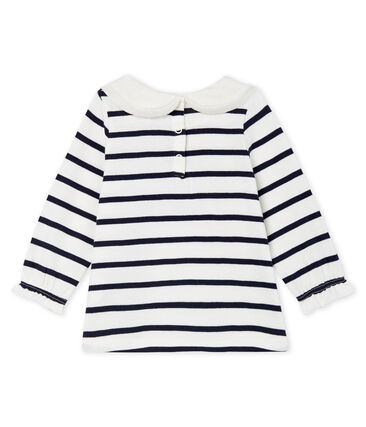 Baby Girls' Long-Sleeved Blouse with Sailor Stripes Marshmallow white / Smoking Cn blue