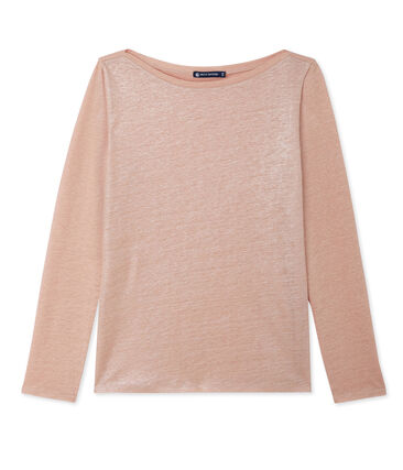 Women's long-sleeved lacquered linen tee Rose pink / Argent grey