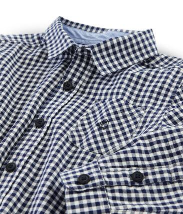 Boys' Checked Shirt Medieval blue / Lait white