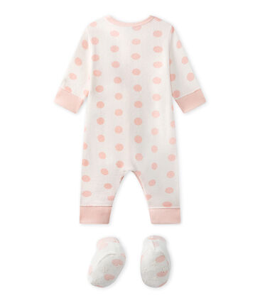 Baby girl's footless sleepsuit in terrycloth bouclette