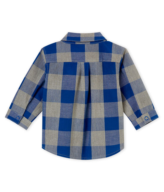 Baby boy's checked shirt Limoges blue / Multico white