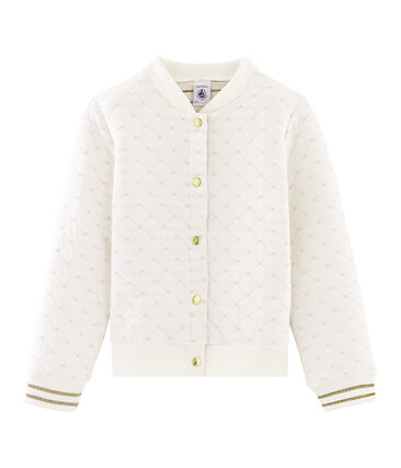 Girls' Quilted Tube Knit Cardigan Marshmallow white