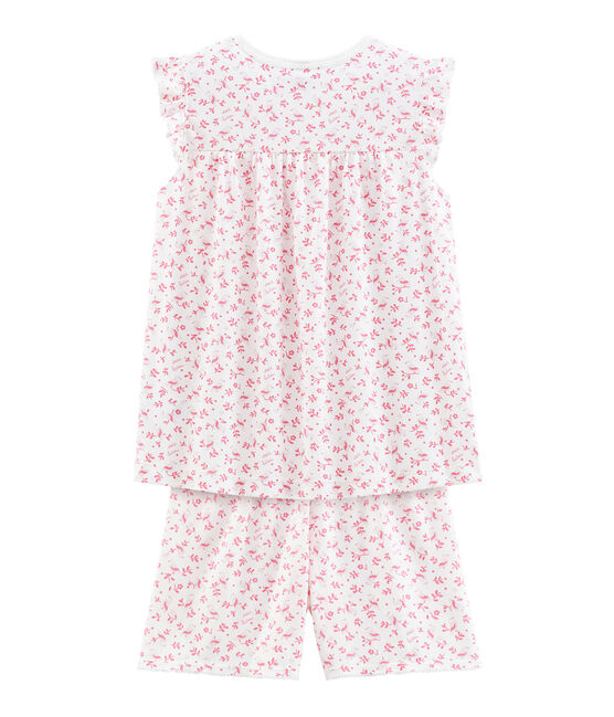 Girls' Fine Cotton short Pyjamas Marshmallow white / Multico white