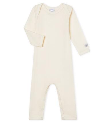 Babies' Long-Sleeved Bodysuit in Cotton/Wool Ecru beige