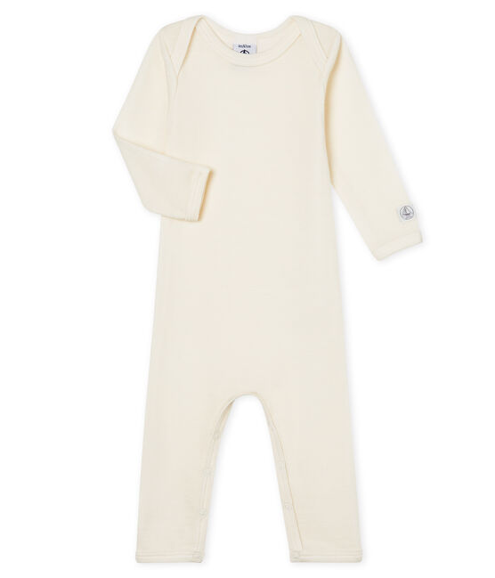 Babies' Long-Sleeved Bodysuit in Cotton/Wool Ecru beige