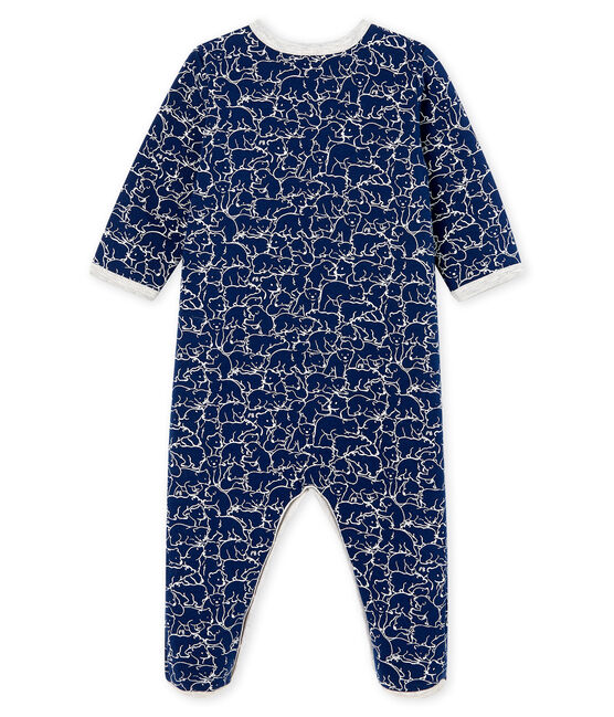 Baby Boys' Fleece Sleepsuit Major blue / Marshmallow white