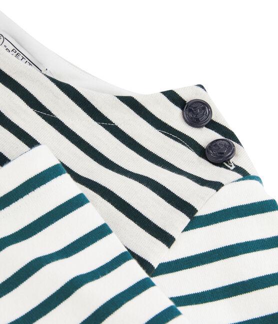 Upcycled women's Breton top Montelimar white / Sherwood green