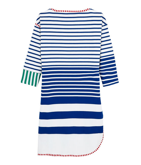 Hyères edition women's dress Lait white / Surf blue