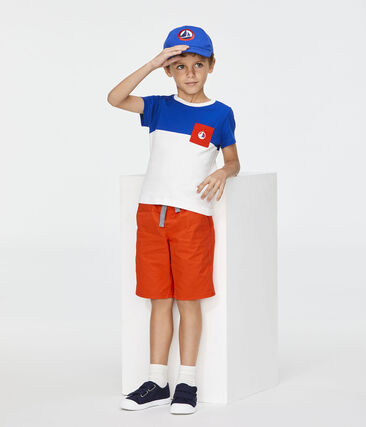 Boys' T-Shirt Marshmallow white / Surf blue