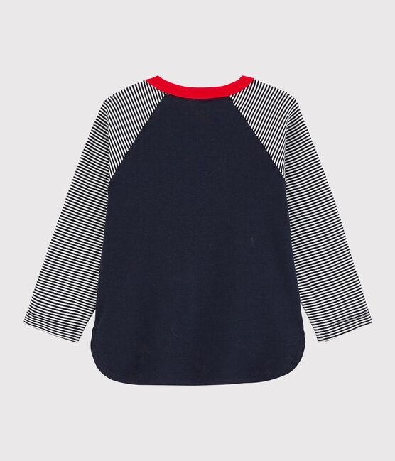 Baby boy's colourblock t-shirt Smoking blue / Marshmallow white