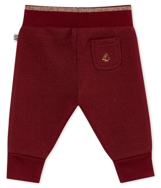 Baby girl's shiny cotton sweatshirt trousers Ogre red / Dore yellow
