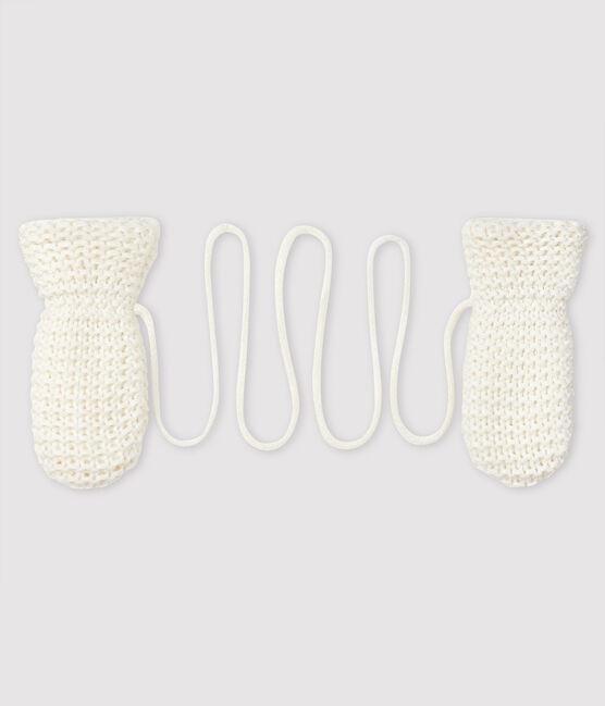 Baby's unisex fleece-lined mittens Marshmallow white