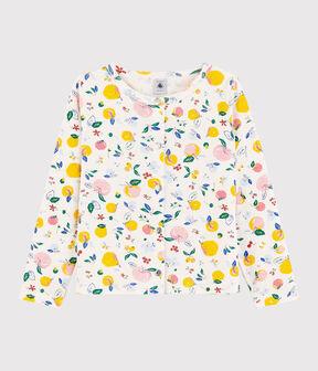 Girls' Cotton Cardigan Marshmallow white / Multico white